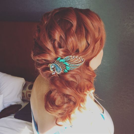 Light golden brown with teal