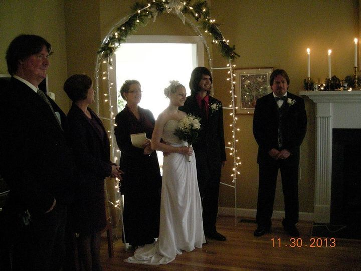 private officiant. Home wedding performed by Rev. Karen Hill