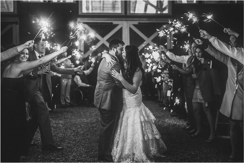 Sparklers to celebrate the newlyweds