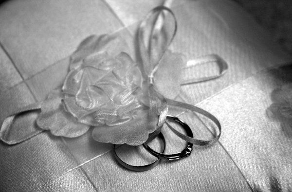 Couple's wedding ring and wedding lace