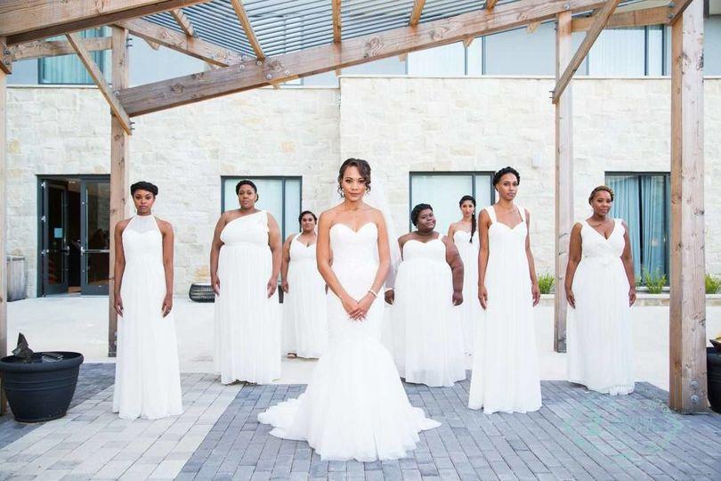 All White Attire Bridal Party