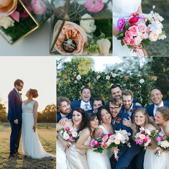 Navy, Blush and Geometric Wed