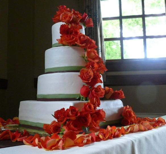 Roses in a cake