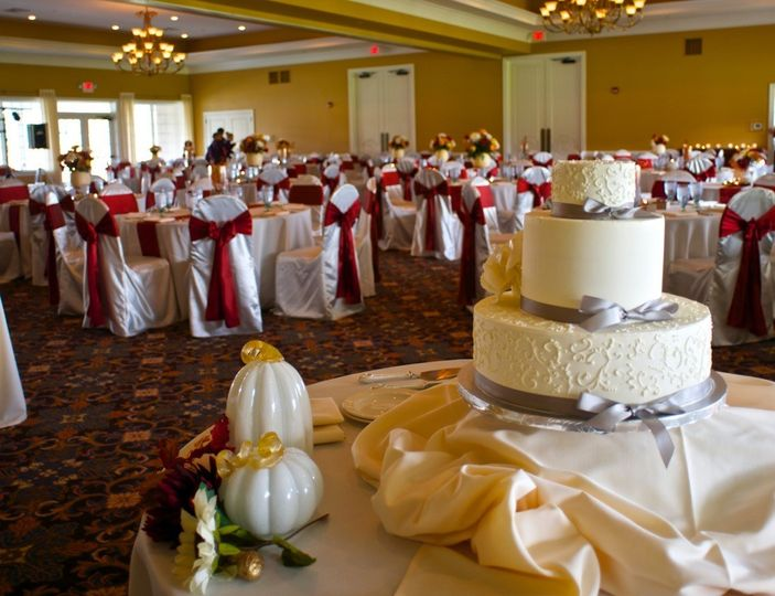 Wedding cake in reception area
