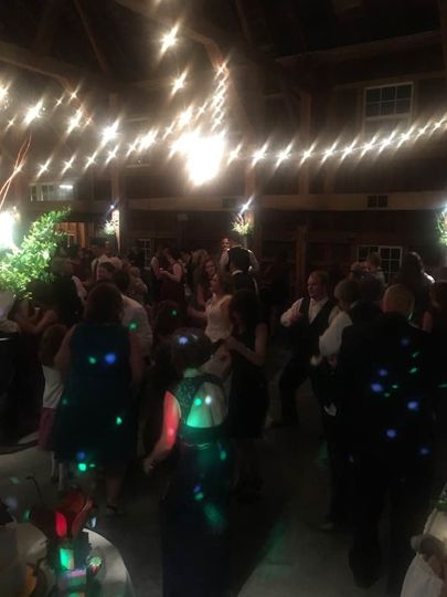 Wedding dance floor with disco lights