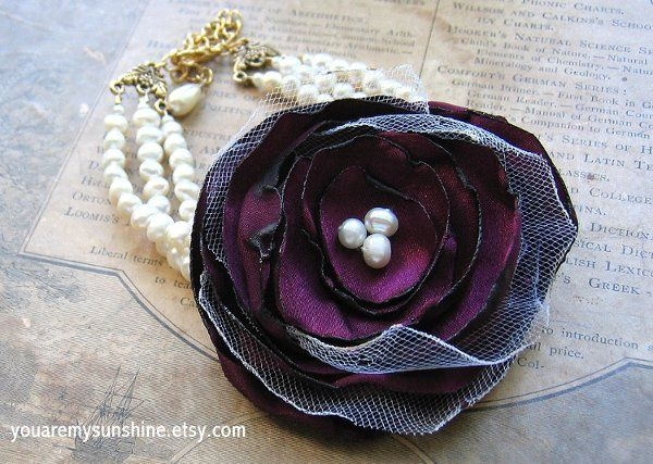 Fabric Flower Bracelet in Sangria Three Strand Faux Pearl