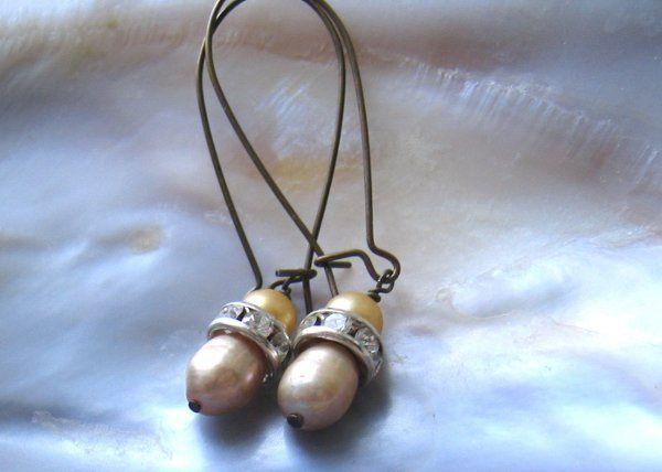 Faux Pearl Earrings with Rhinestones
