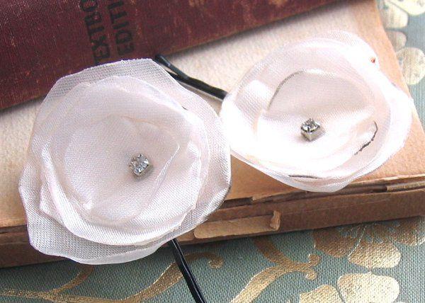 Ivory Fabric Flower Hair Pins