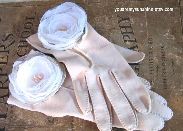 Fabric Flowers Vintage Gloves