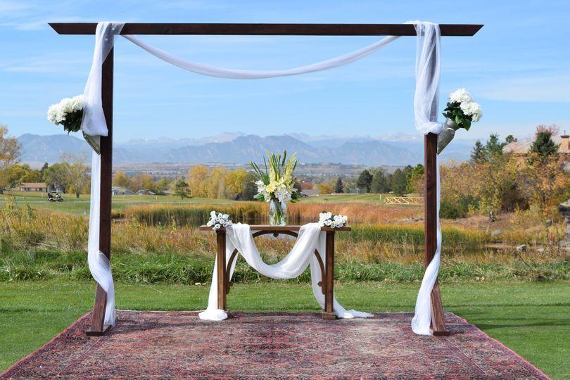 Wedding altar on the lawn