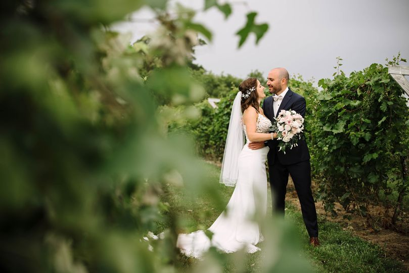 Wedding couple in the vines