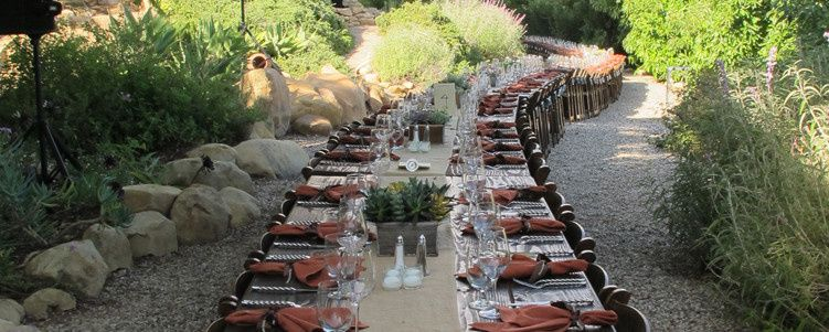 Long outdoor table setup