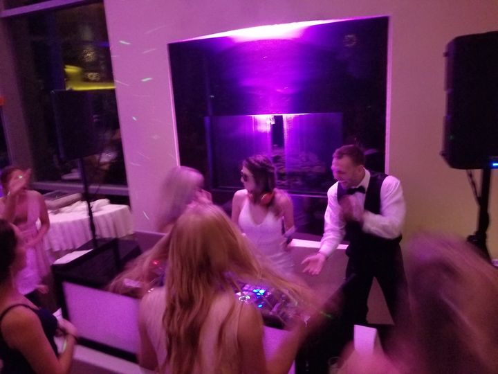 Bride and groom mixing