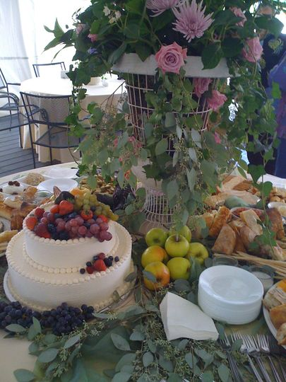 Wedding cake and buffet