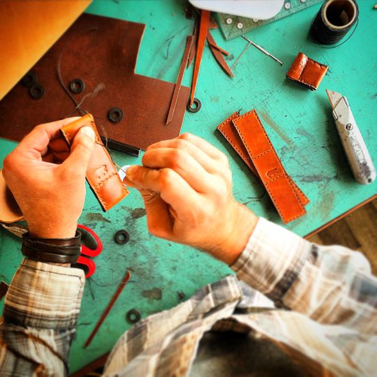 Handcrafted leather wares.