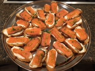 Smoked salmon crostinis