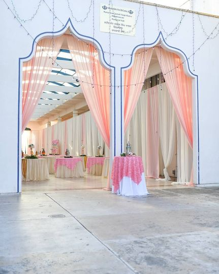 Entrance drapery welcome table