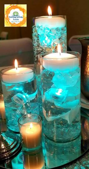 Teal themed centerpiece