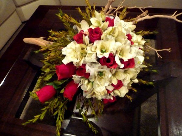 "A ""Custom Designed"" Red Velvet Rose Cascading Bridal Bouquet.                     THIS IS SILK..."