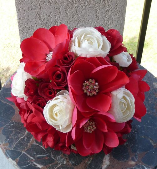 Hand Painted Red Magnolias dominate this Bridal Bouquet with Open and Closed Roses and Cream...