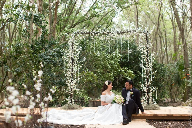 Newlyweds sitting under the arch