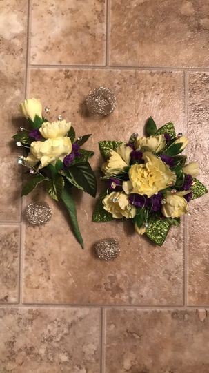 Matching corsage and boutonniere