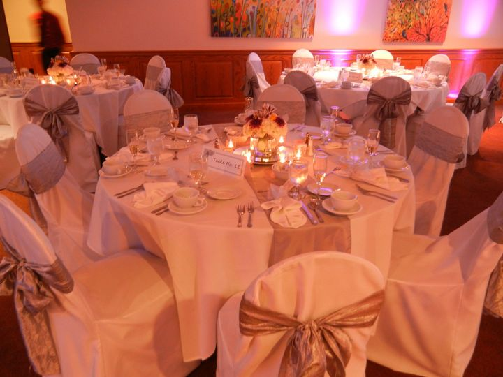Table with floral and candle centerpiece