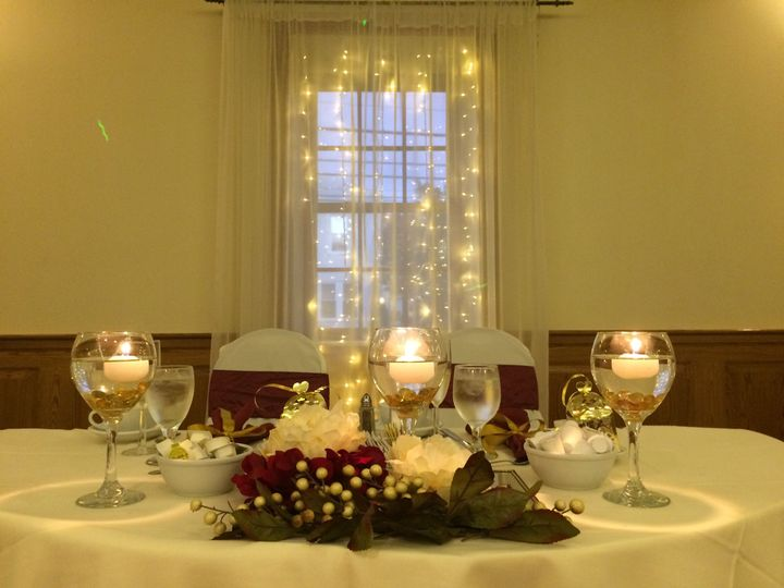 Table with elegant candle centerpiece