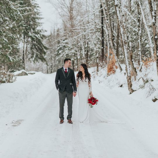 Newlyweds on the snowy road