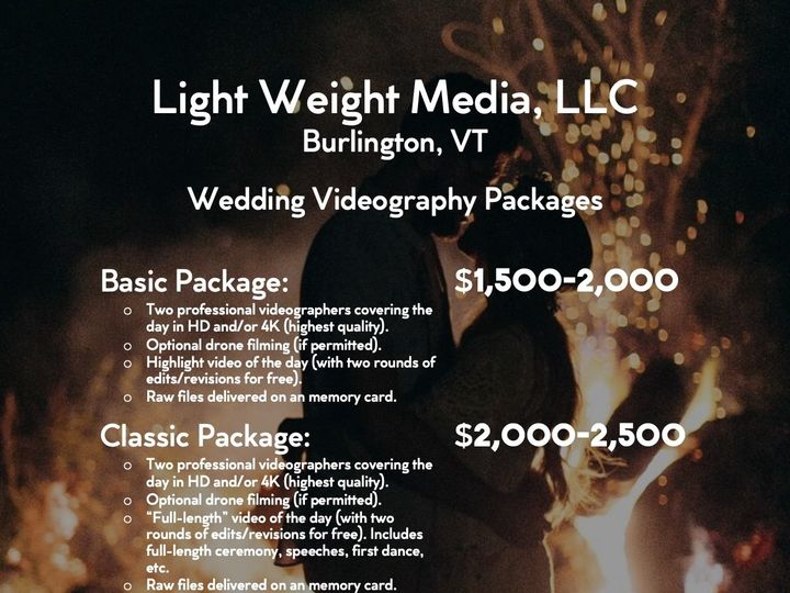 Tmx Pricing Chart 51 1983017 159724892617968 Burlington, VT wedding videography