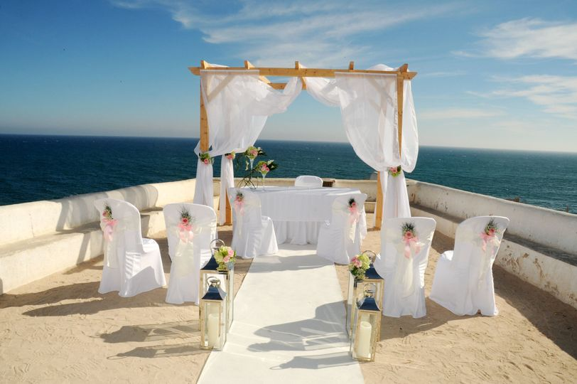Wedding with sea front view