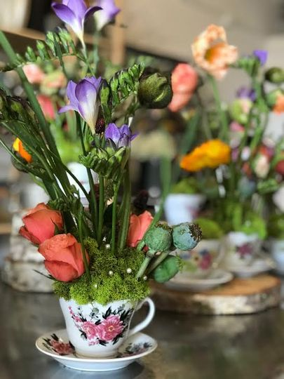 Flowers in teacups
