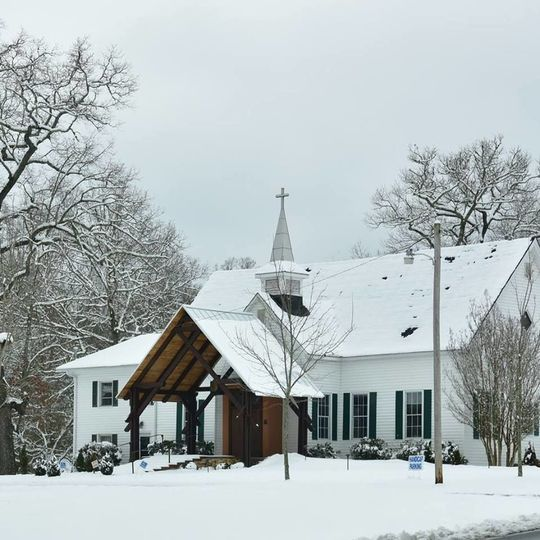 The church is beautiful in the snow.