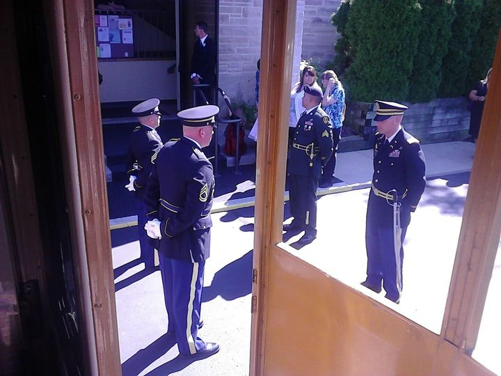 Soldiers by the entrance