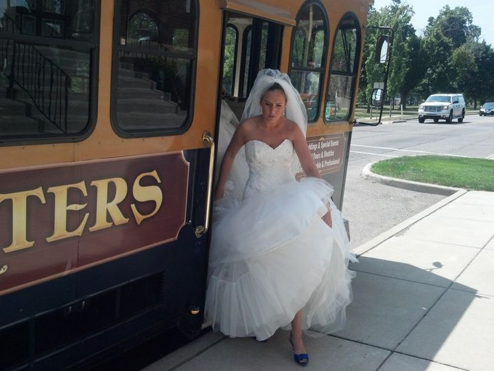 Bride going down the tram