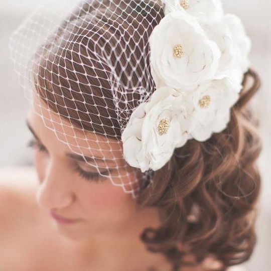 Netted veil with white flowers