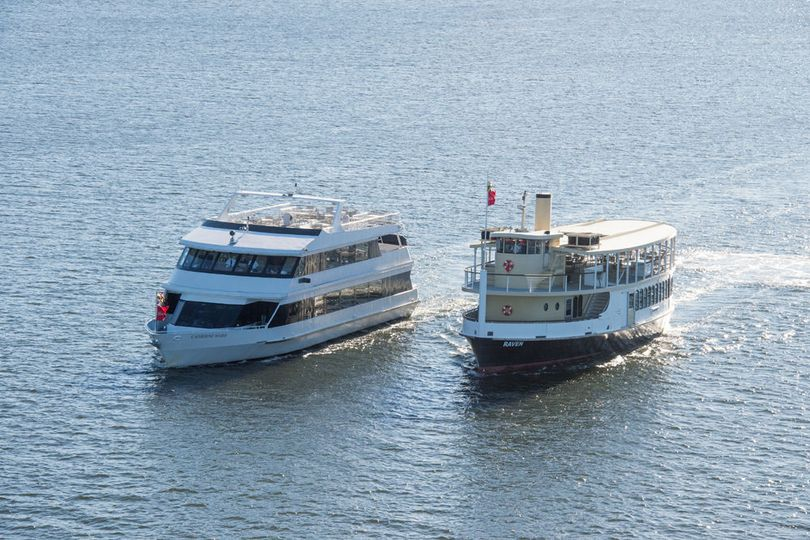 (L to R) Catherine Marie and Raven, our most elegant yachts for your wedding.