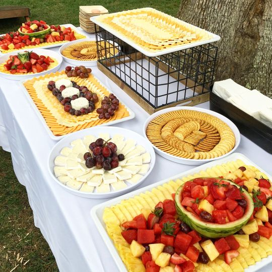 Fruit platter and fita and cheese buffet