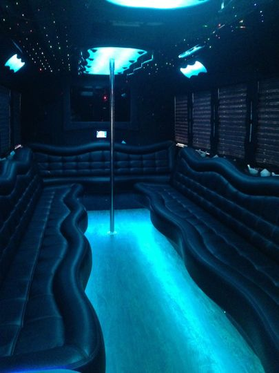 Passenger Party Bus with nice dance floor for group travel and special events.  A & E Worldwide Limo