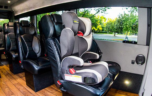 Mercedez Benz Sprinter Van with child seat for group and family travel.  A& E Worldwide Limo