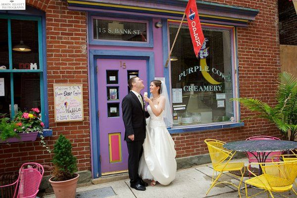Sharing an ice cream cone at The Purple Cow Creamery in Easton, Pennsylvania.