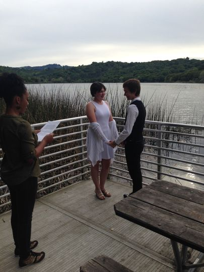 McKenna and Elke's ceremony at the Lafayette Resevoir.