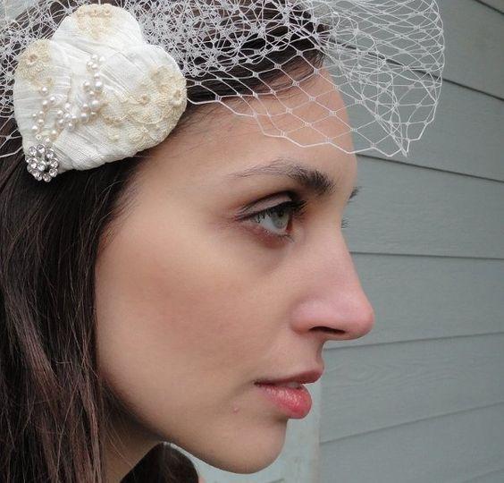 Embrace, wrapped silk bridal headpiece, rhinestones, lace