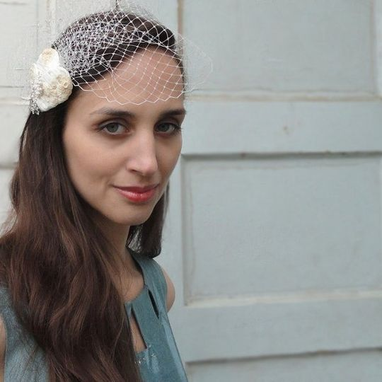 Embrace, wrapped silk bridal headpiece, rhinestones, lace with birdcage veil.