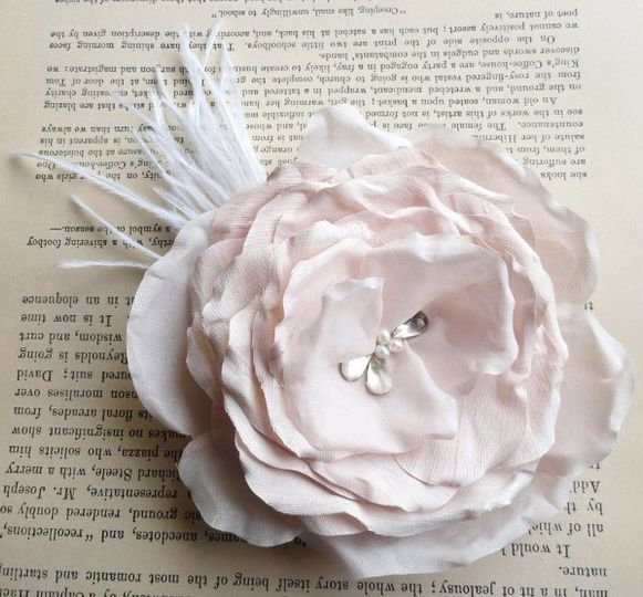 Tears of Happiness, bridal hair flower facinator, platinum pink, with birdcage veil, also comes in...