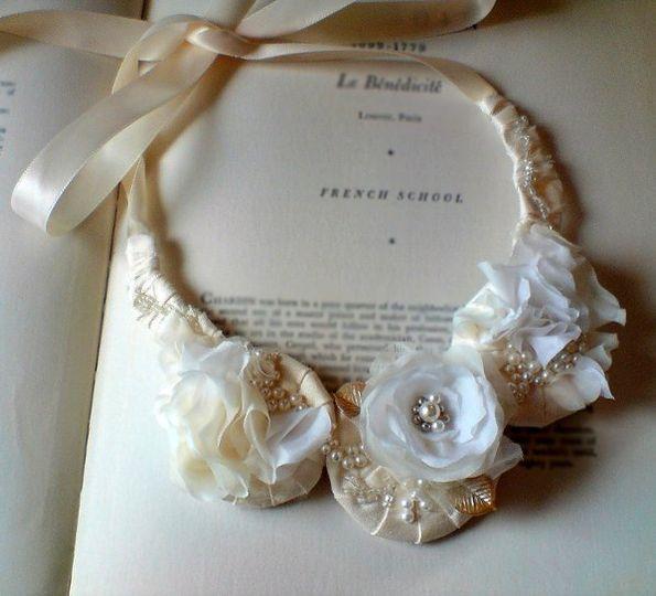 Creme Brulee Wedding Statement Necklace