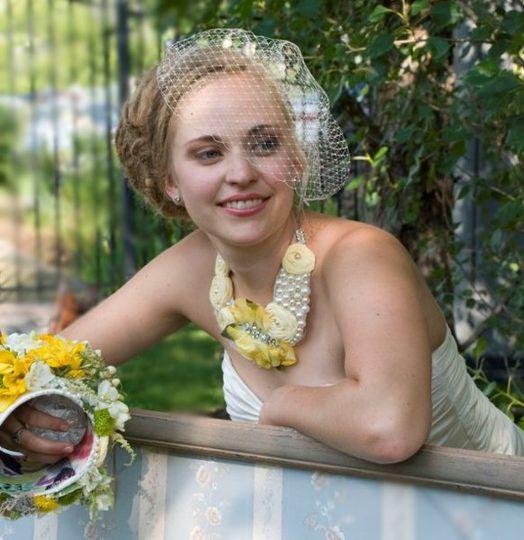 Lemon Meringue Wedding Bib Necklace
