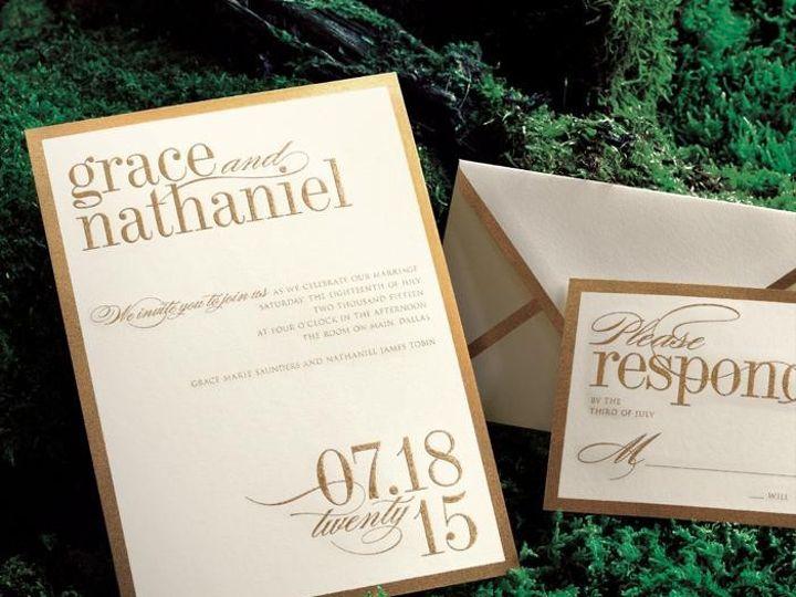 Tmx 1377021513033 Vera Wang Goldborder Adreal Hingham wedding invitation