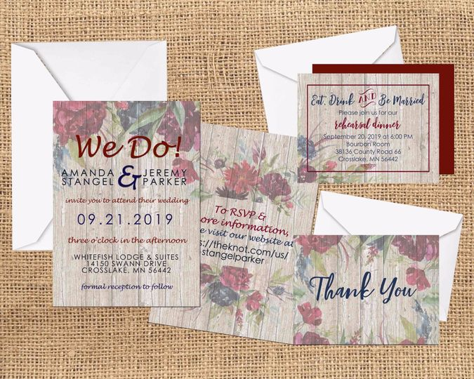 Rustic custom invitations