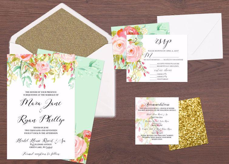 Glitzy floral wedding stationery